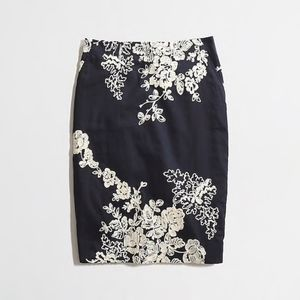 J. Crew Embroidered Pencil Skirt